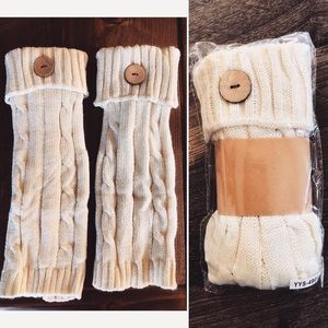 Accessories - IVORY CABLE KNIT BOOT CUFF with button